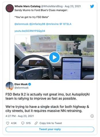 Tesla CEO Elon Musk said the latest beta version of the company's self-driving technology is not gre...