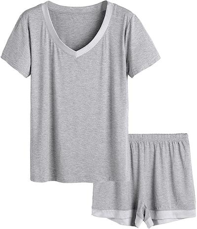Latuza V-neck Sleepwear Short Sleeve Pajama Set