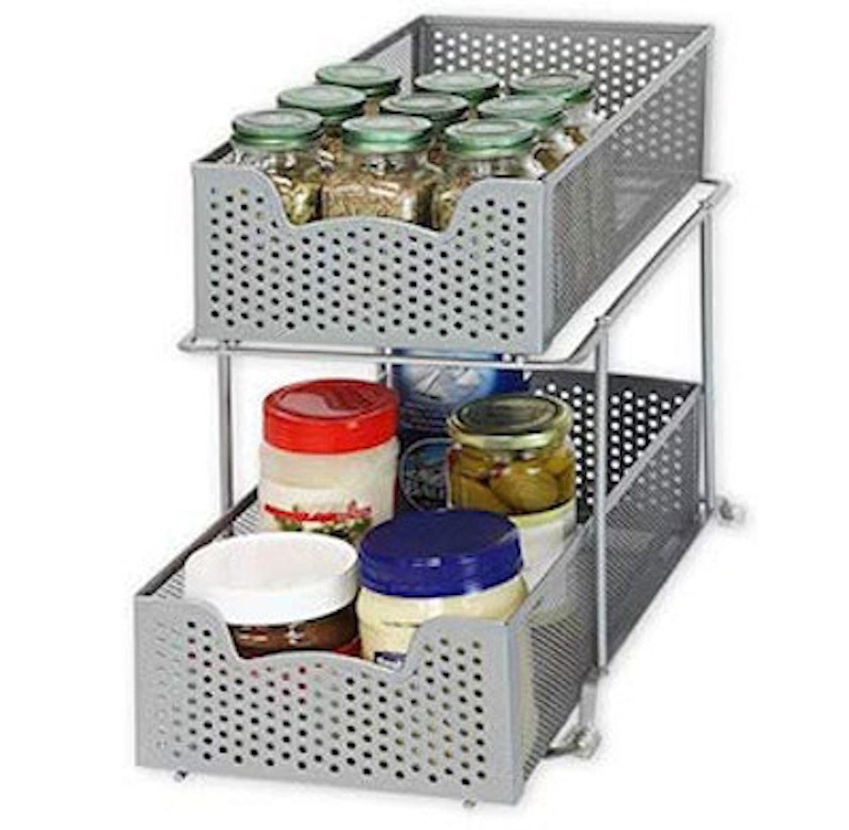 SimpleHouseware 2 Tier Sliding Cabinet Basket Organizer Drawer