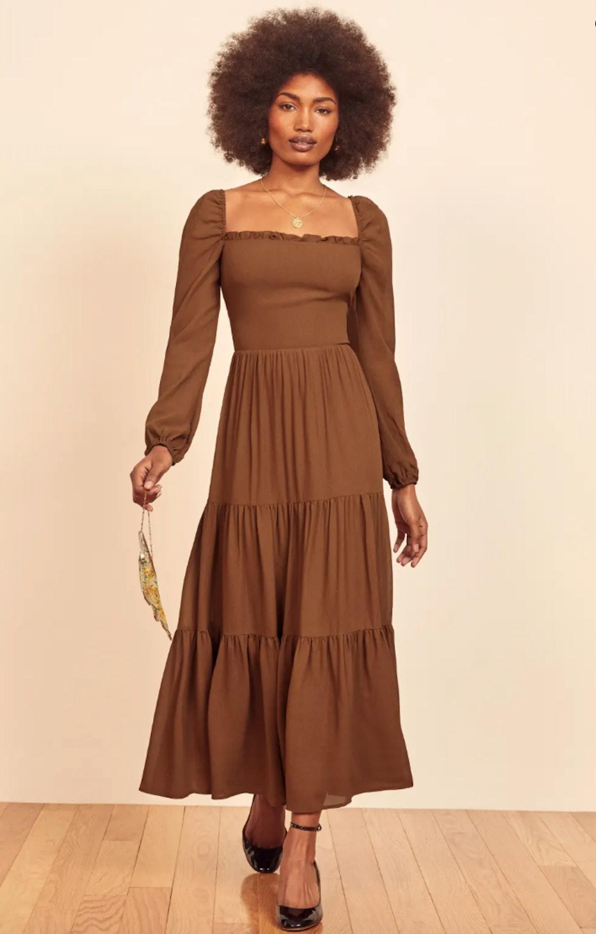 Reformation's Kellie Dress in cinnamon.