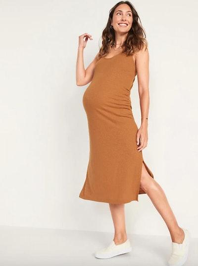 Maternity Sleeveless Cross-Back Rib-Knit Linen-Blend Midi Shift Dress