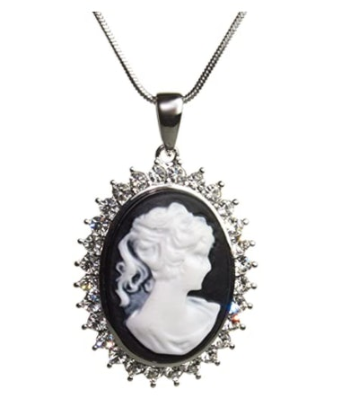 Silvertone Black and White Cameo Lady Necklace