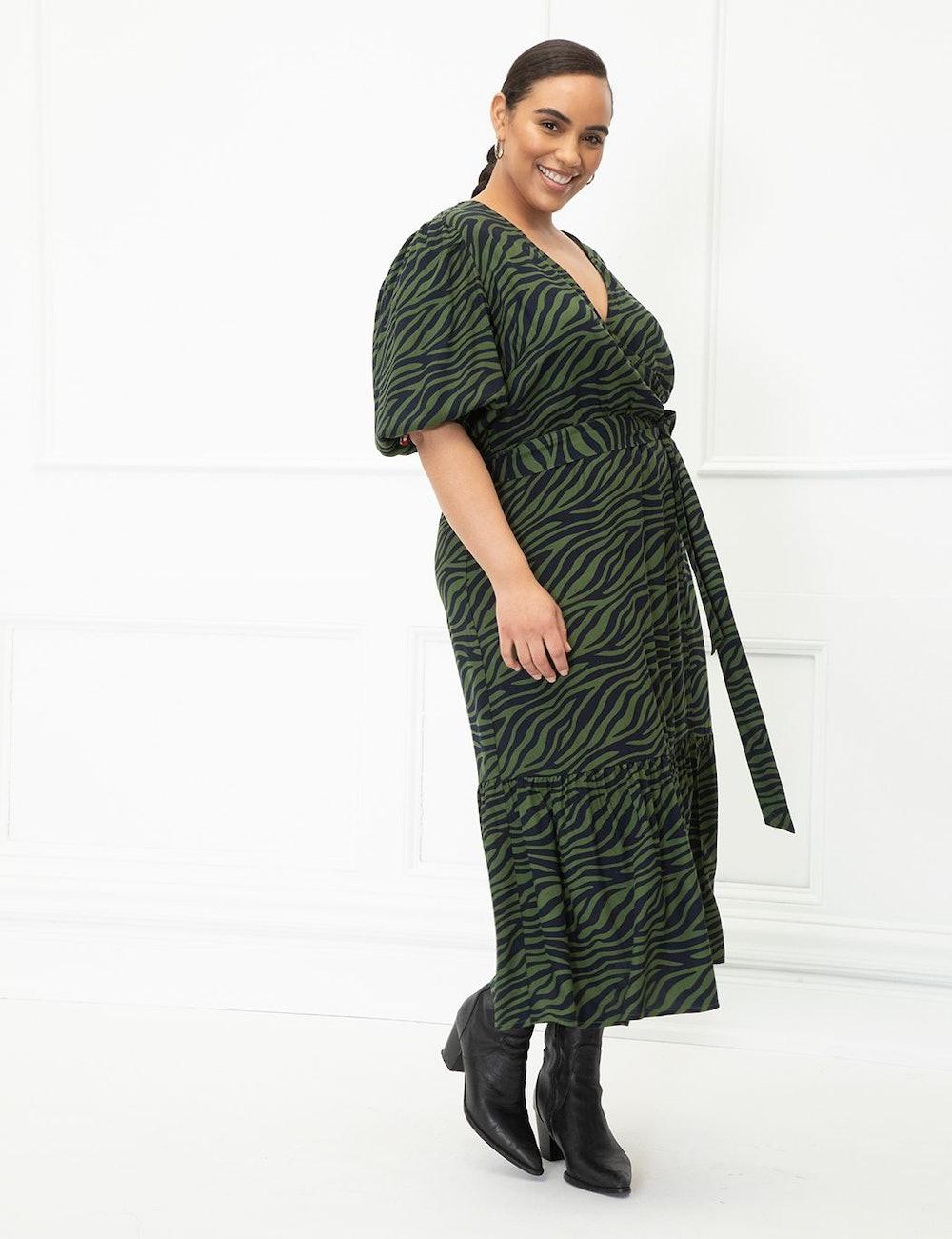 Elements Puff Sleeve Wrap Dress