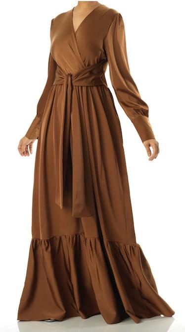 Kabayare's brown satin long sleeve maxi dress.