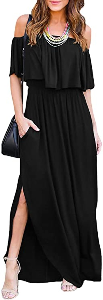 THANTH Ruffle Side Split Maxi Dress