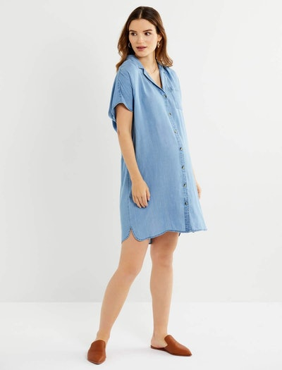 Chambray Button Front Maternity Dress