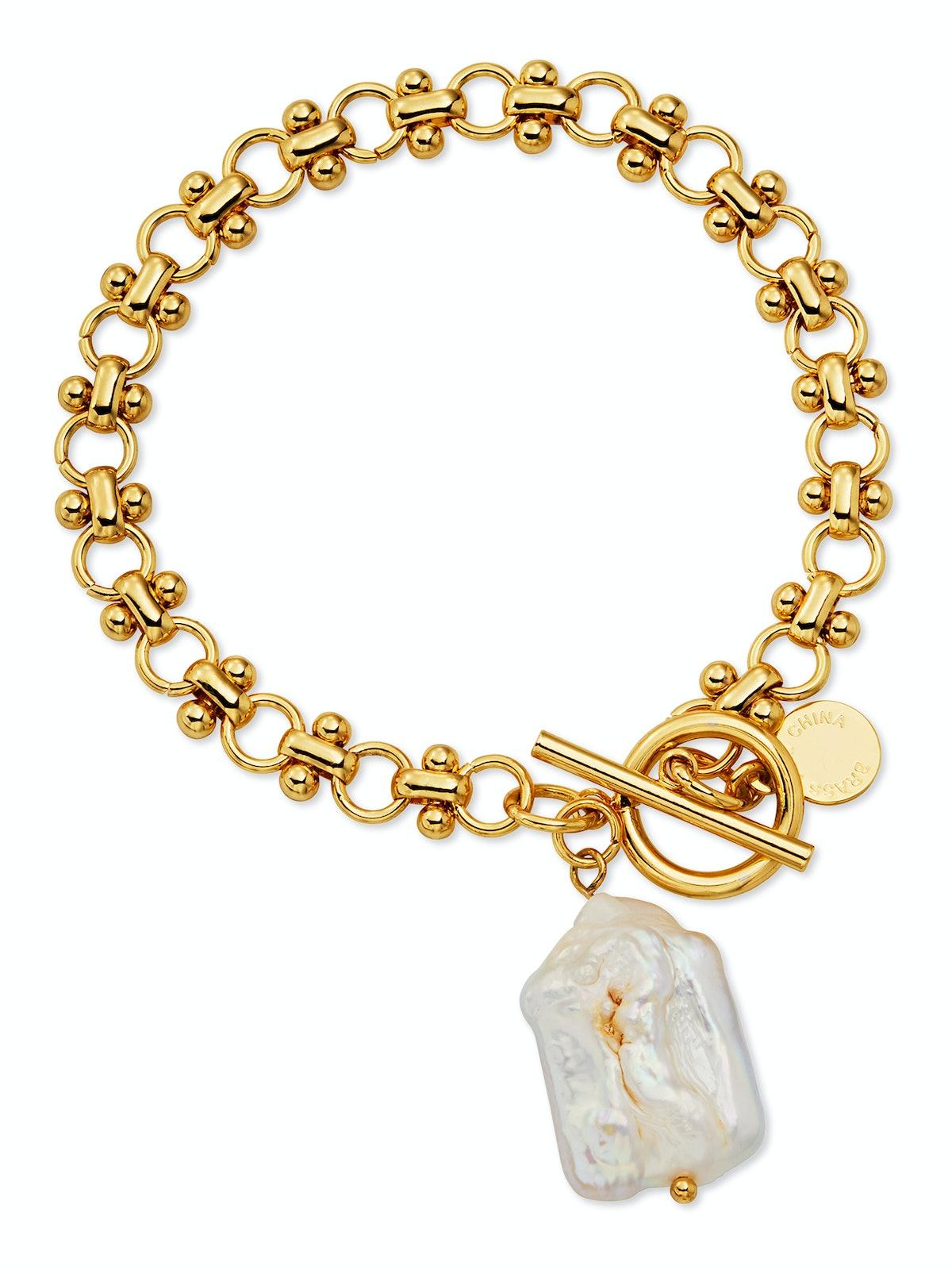 Imitation Pearl Link Toggle Bracelet