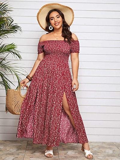 Floerns Boho Off Shoulder A Line Dress