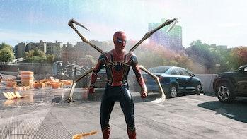 Iron Spider suit on highway in Spider-Man: No Way Home