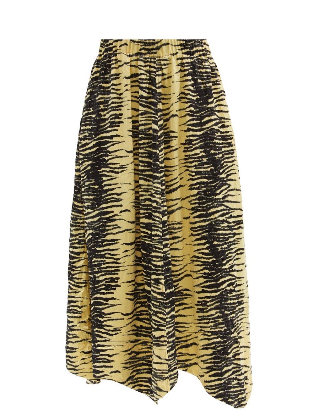 Elasticated-waist zebra-print satin midi skirt
