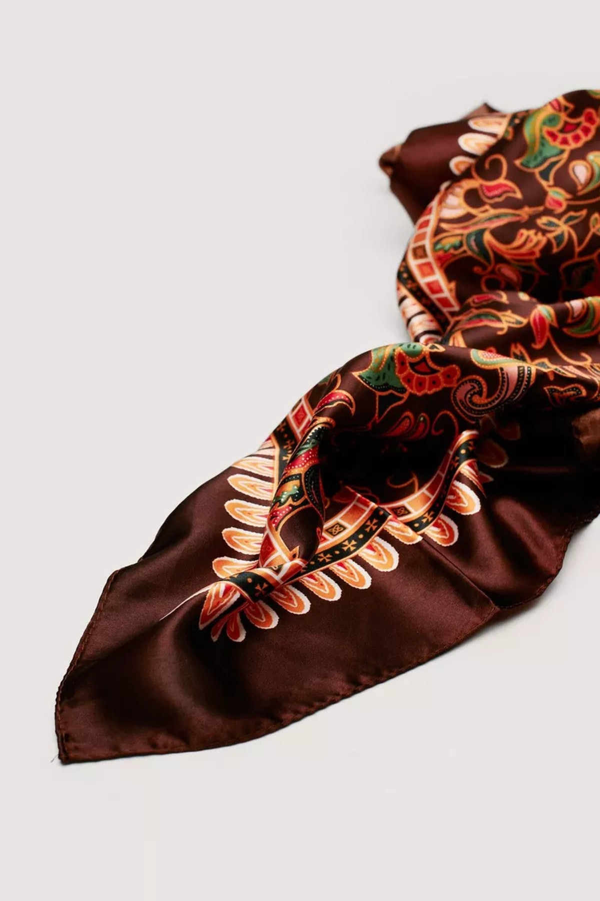 Paisley Print Satin Tie Headscarf