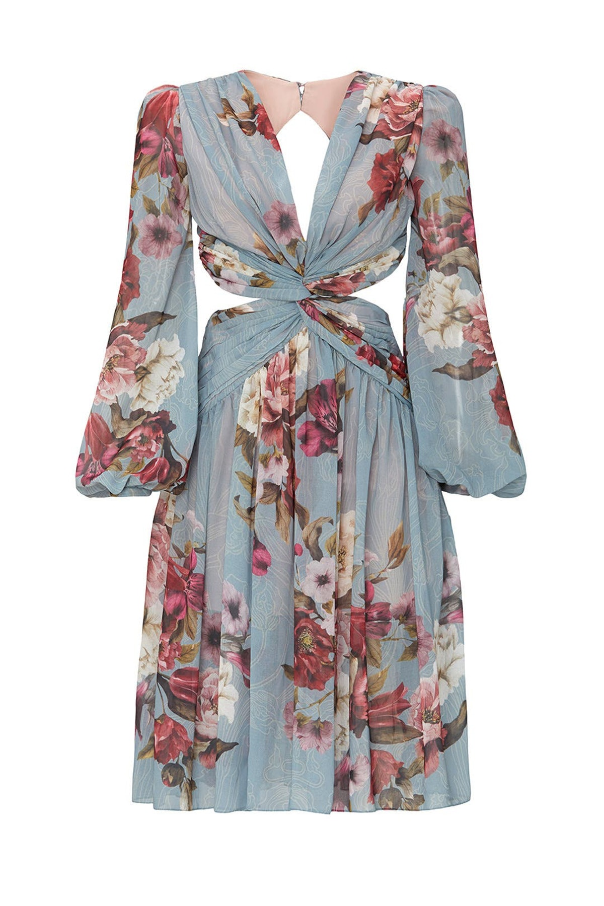 Peony print blue cutout dress from PatBO, available to shop or rent via Rent The Runway.