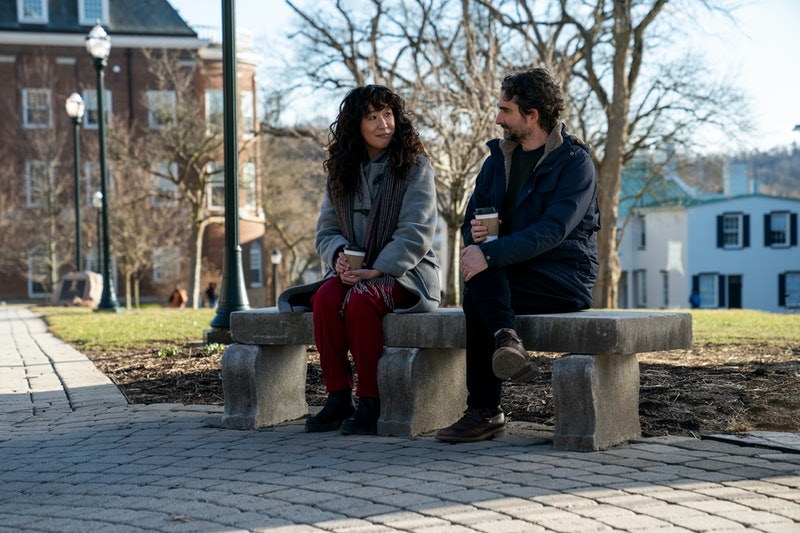 Ji-Yoon (Sandra Oh) and Bill (Jay Duplass) sitting on a bench on Pembroke University's campus in 'Th...
