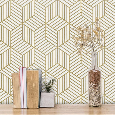 MelunMer Gold and White Geometric Peel and Stick Wallpaper