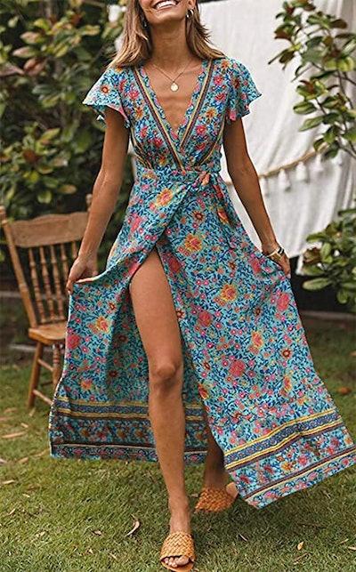 ZESICA Bohemian Wrap Maxi Dress