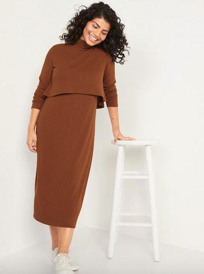 Double-Layer Midi Nursing Sweater Dress