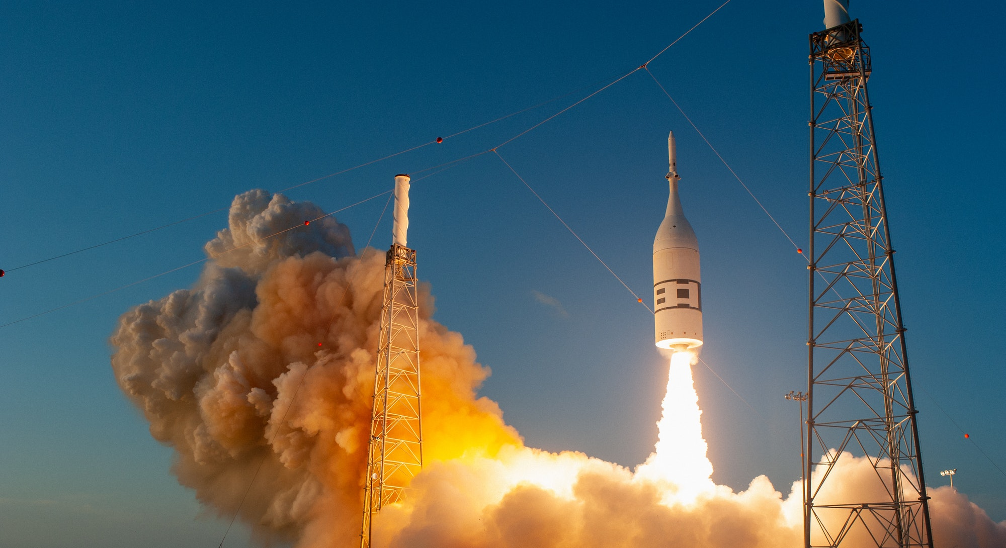A test launch of the Orion capsule.