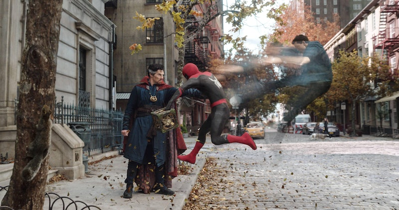 Tom Holland and Benedict Cumberbath star together in 'Spider-Man: No Way Home.' Photo via Marvel Stu...