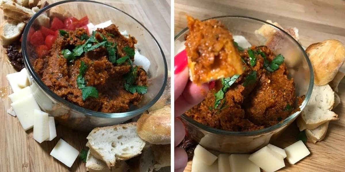 Carrot dip with bread