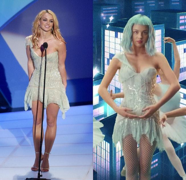 Britney Spears and Olivia Rodrigo wearing the same Roberto Cavalli dress from 2003.