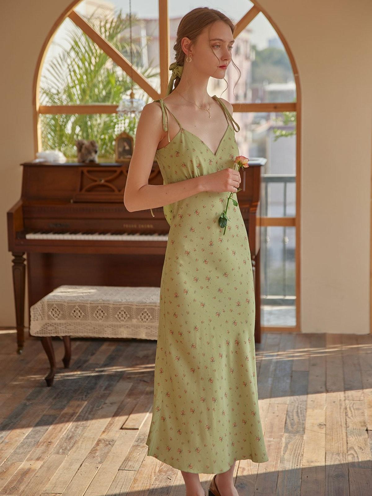 Rosalina Floral Slip Maxi Tea Dress from Simple Retro.
