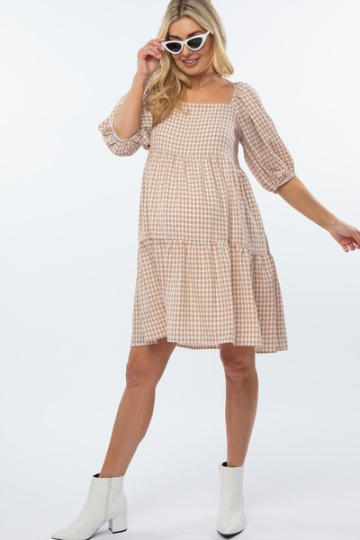 Taupe Square Neck Checkered Pleated Tier Maternity Dress
