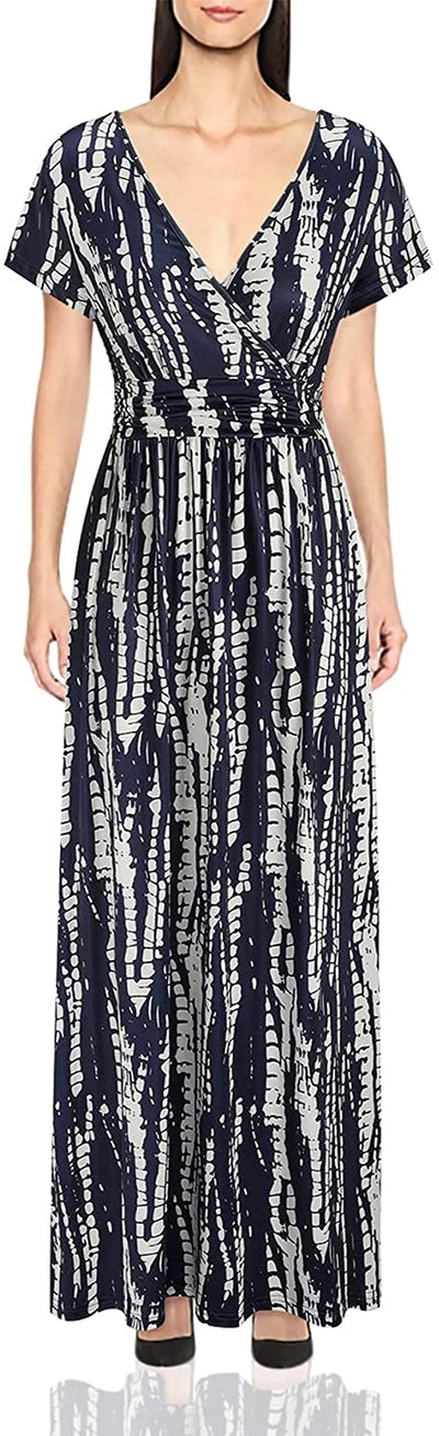 OUGES V-Neck Maxi Dress