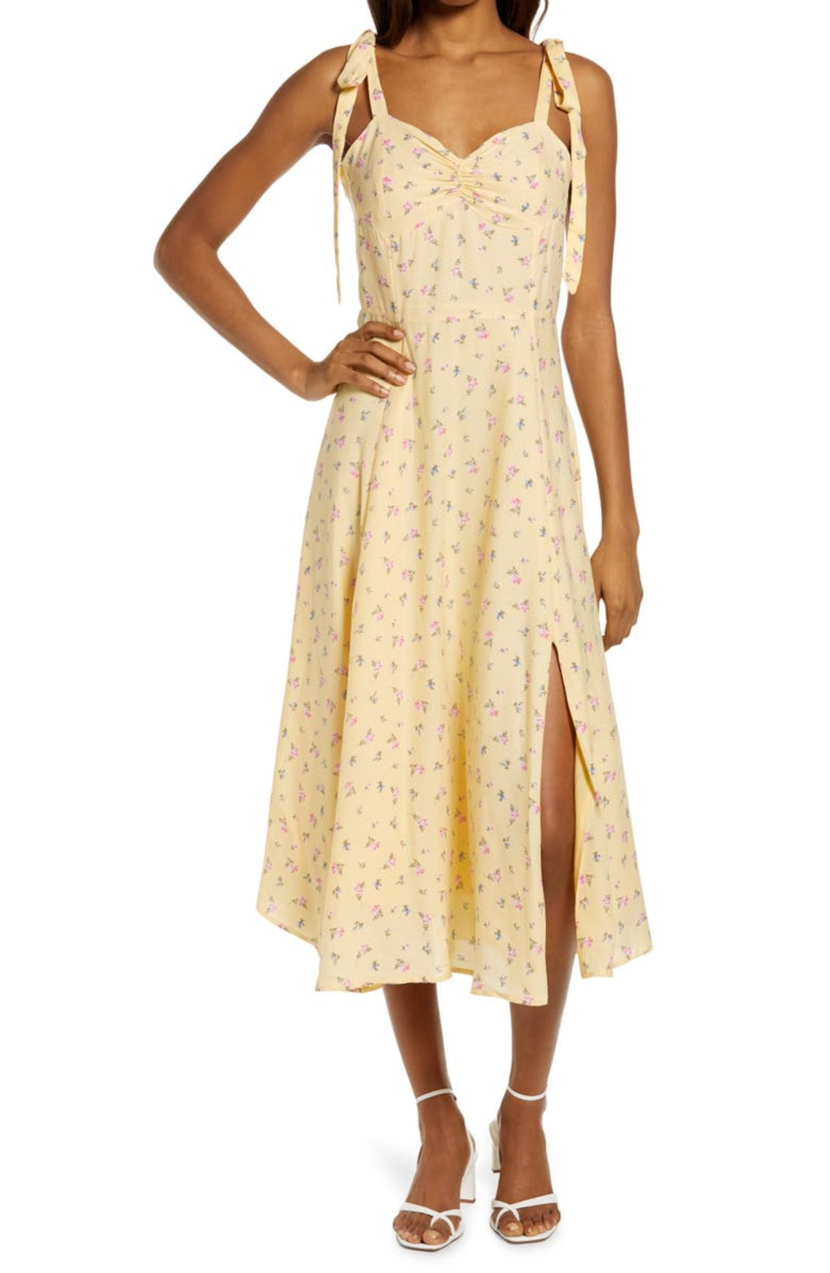 Floral Ditsy Tie Shoulder Midi Dress from BARDOT, available to shop on Nordstrom.
