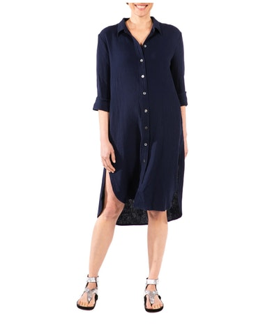 Loyal Hana Carissa Long Sleeve Crinkle Maternity/Nursing Shirtdress