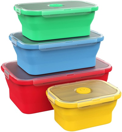 Vremi Collapsible Silicone Food Storage Containers (Set of 4)