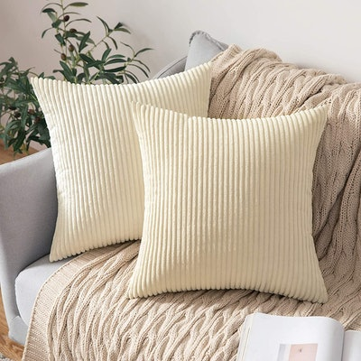 MIULEE Corduroy Throw Pillow Covers (2 Pack)