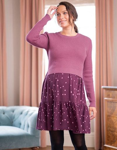 Plum Polka Dot Maternity & Nursing Dress