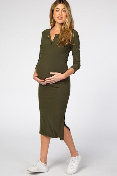 Olive 3/4 Sleeve Maternity Midi Dress