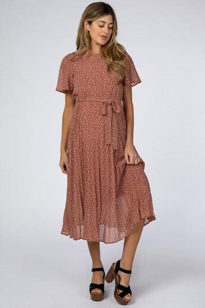 Rust Leaf Print Pleated Maternity Midi Dress
