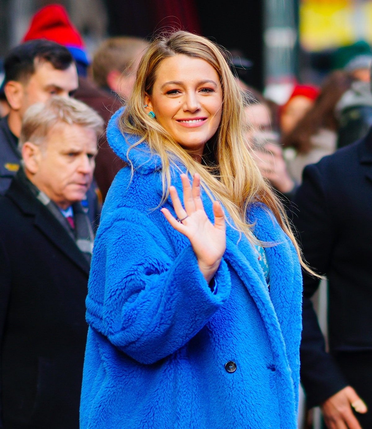 Blake Lively departs GMA on January 28, 2020 in New York City.