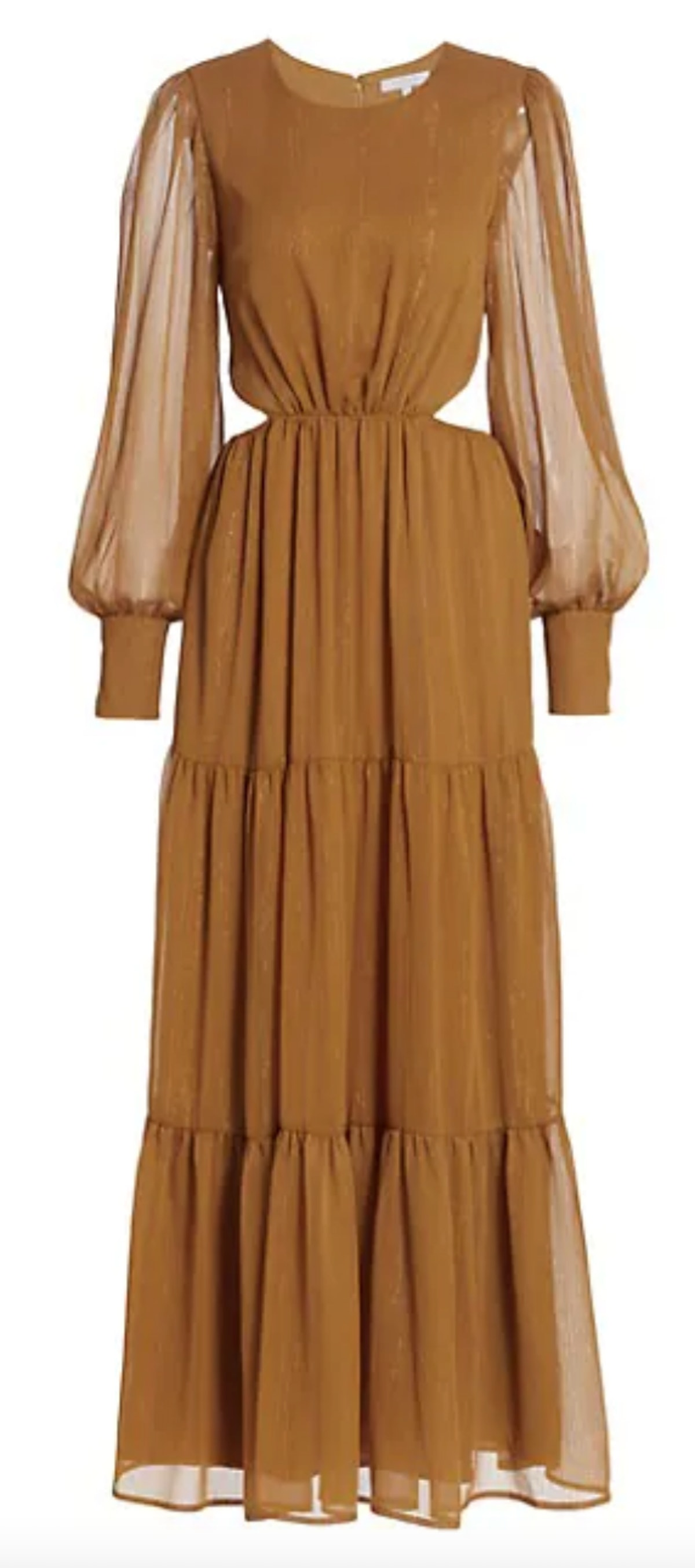 Wayf's Gina tiered cutout maxi dress in the color saffron.