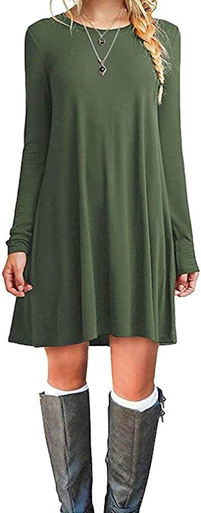 MOLERANI Casual Long Sleeve T-Shirt Dress