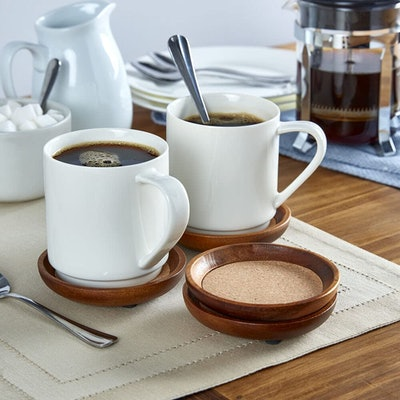Kamenstein Acacia Wood and Cork Stackable Coasters (Set of 4)