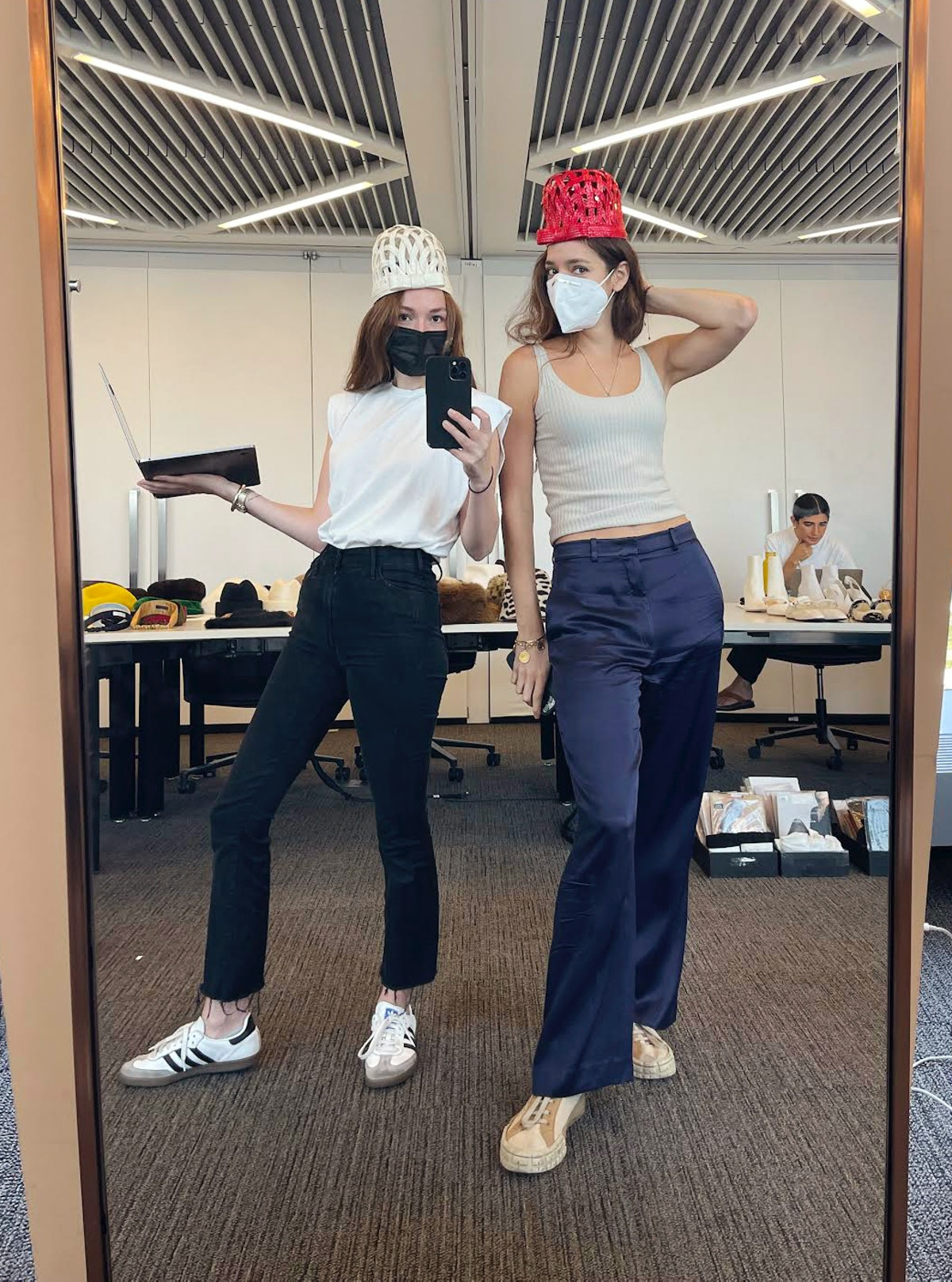 Editorial Assistant Julia McClatchy and Special Projects Editor Allia Alliata di Montereale trying o...