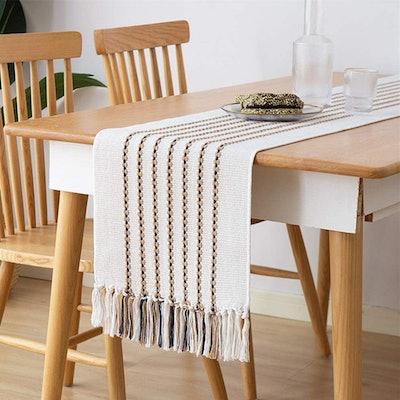 Monibana Handmade Macrame Striped Table Runner