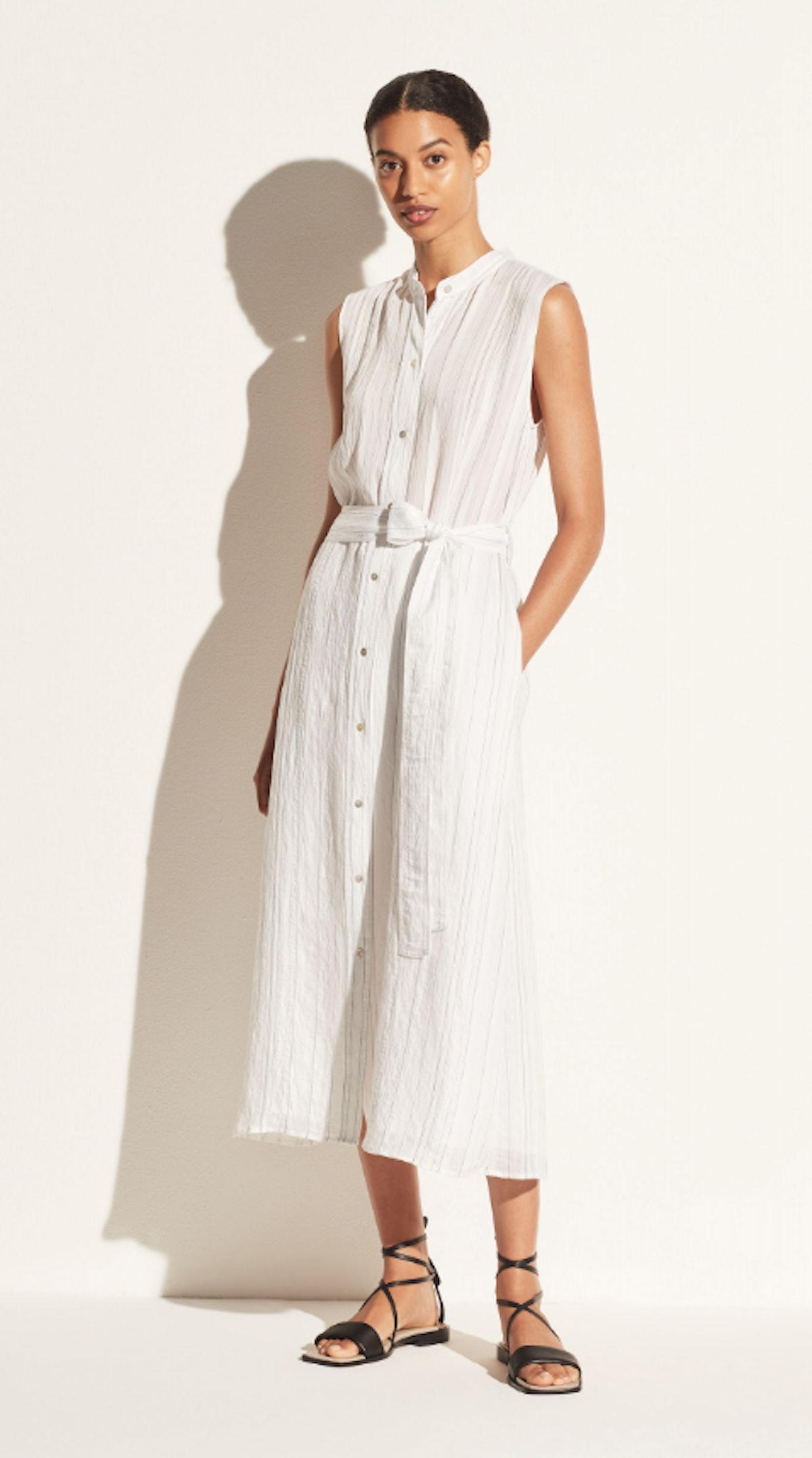 VINCE's white stripe shirt dress.