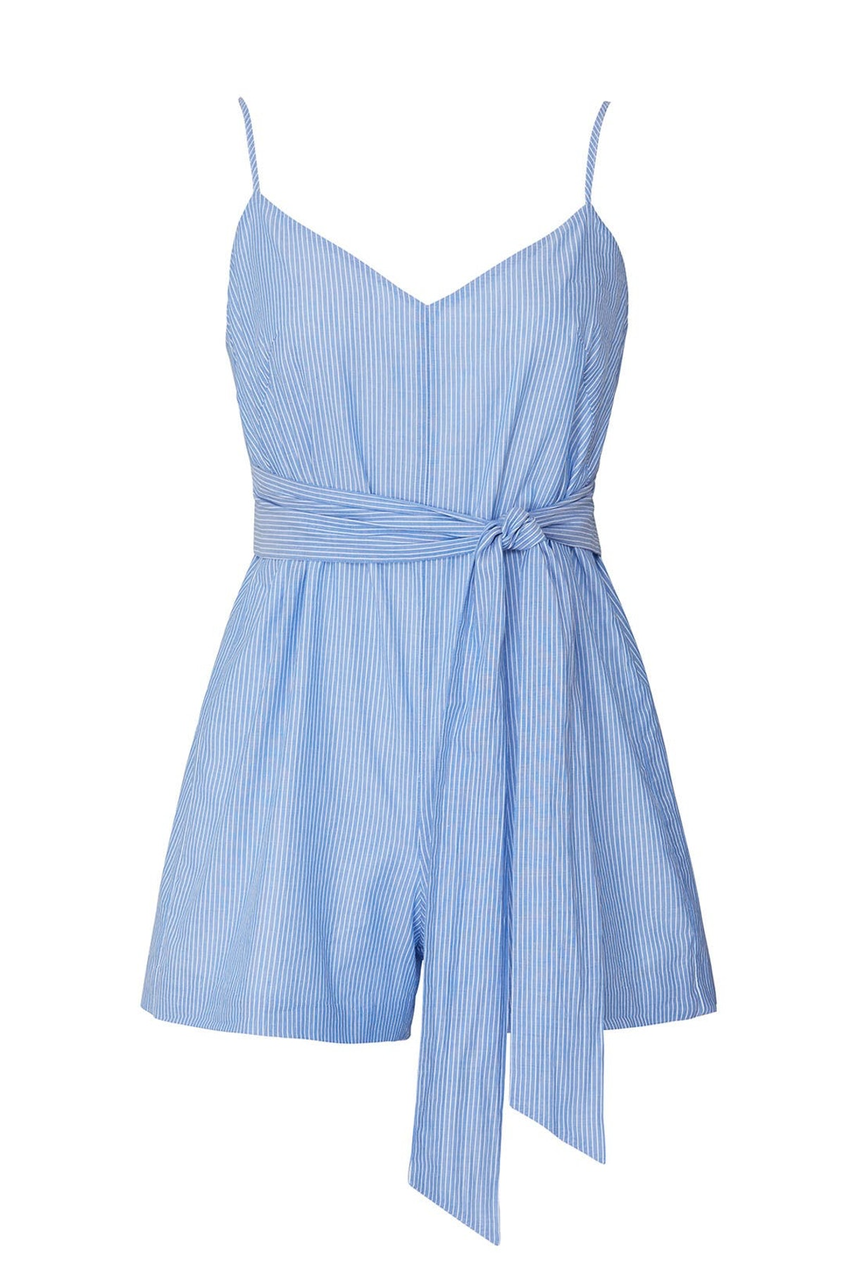 Xuan blue stripe romper from Club Monaco, available to shop or rent via Rent The Runway.