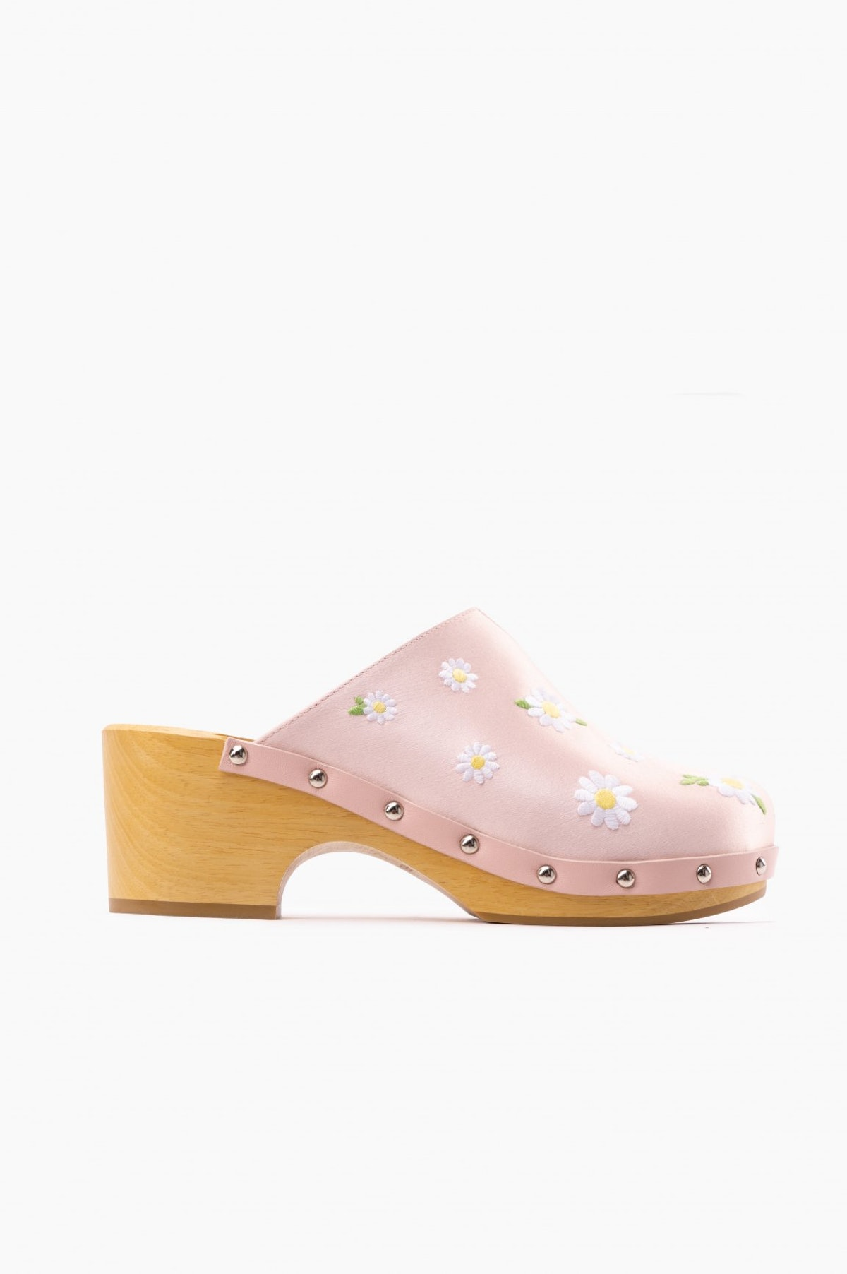 Matilda Daisies Embroidered Clogs in Pink