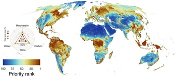 Map of high priority conservation areas around the world