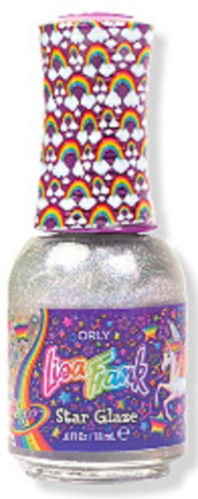 Image of the silvery hued Orly Star Glaze Iridescent Topcoat, from the Lisa Frank X Orly collection.