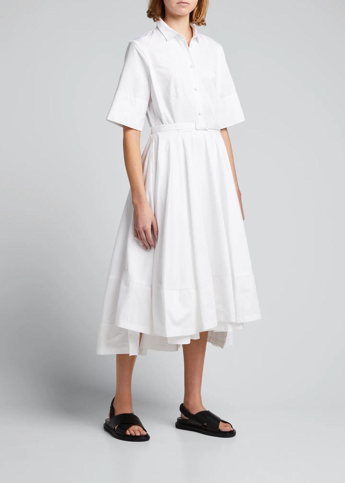 CO Poplin Flared Short-Sleeve Shirtdress