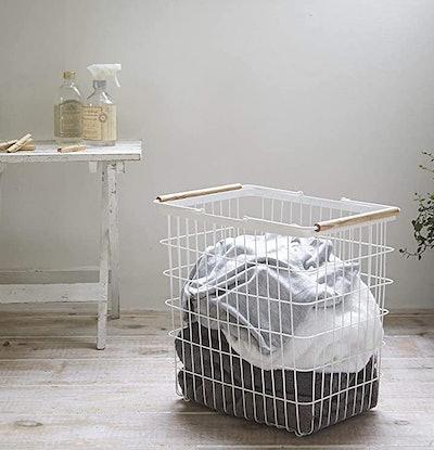 Yamazaki Laundry Basket with Wooden Handles