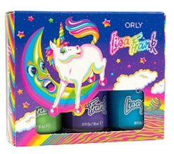 Image of one of the new Orly X Lisa Frank nail polish kits, inspired by Markie the unicorn, holding ...