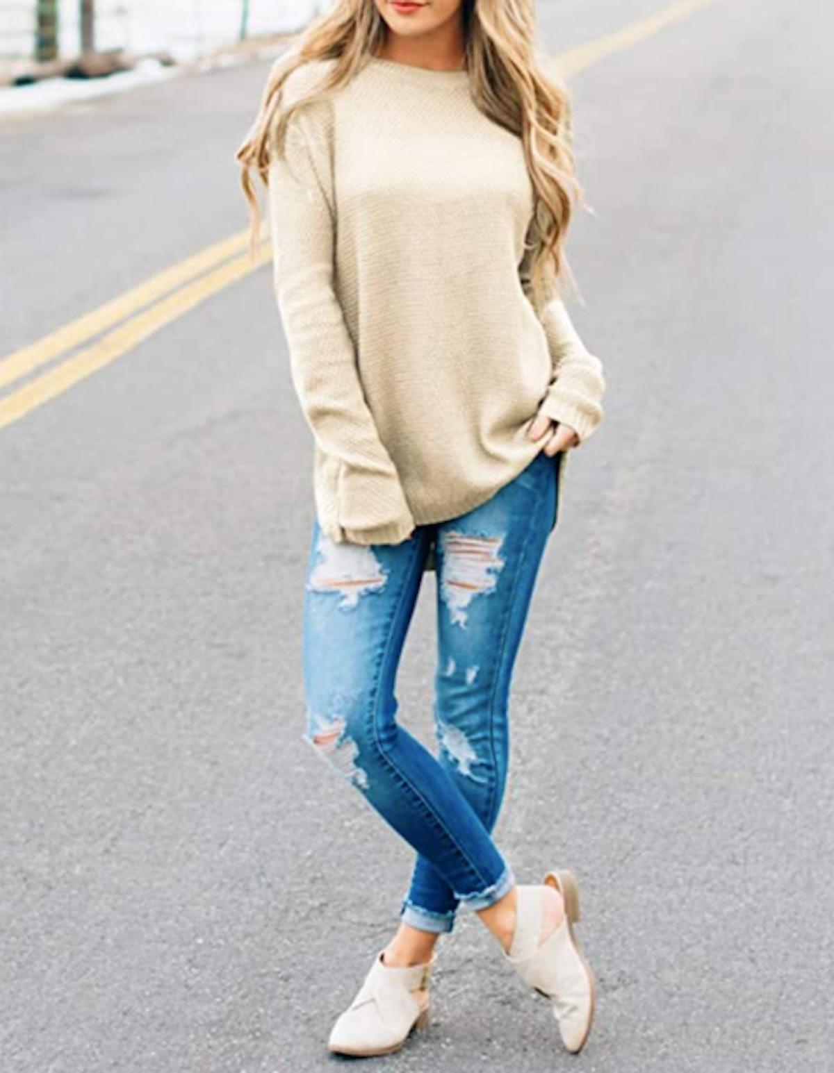 MEROKEETY Long Sleeve Crew Neck Pullover Sweater