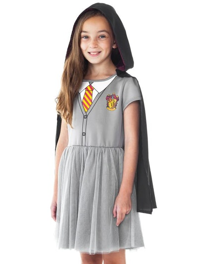 Harry Potter Hermione Halloween Costume Dress w/ Cape Cosplay (Big Girls)